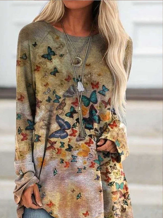 Deep Khaki Casual Long Sleeve Printed Shirts & Tops