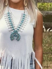 Fringed Vintage Sleeveless Crew Neck Shirts & Tops