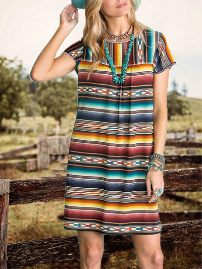 Color1 Stripes Holiday Jersey Printed Dresses