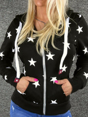 Black Long Sleeve Printed Star Outerwear