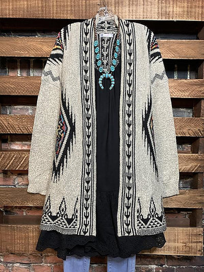 Ethnic Print Loose Knit Cardigan Sweater Coat
