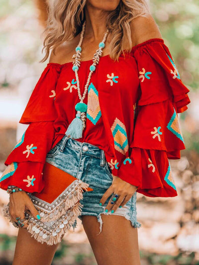 Red Floral-Print Off Shoulder Long Sleeve Shirts & Tops