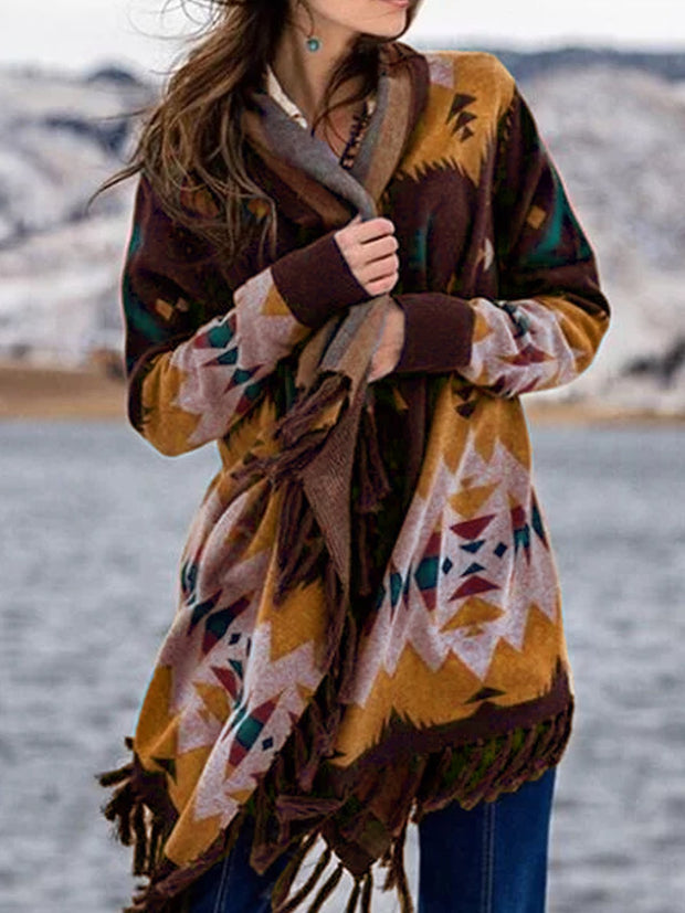 Multicolor Boho Color-Block Patchwork Cotton-Blend Outerwear