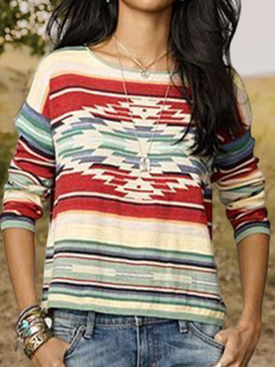 Plus Size Boho Geometric Printed Vintage Long Sleeve Casual Shirts Tops