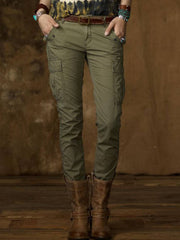 Plus Size Cotton-Blend Casual Solid Pants