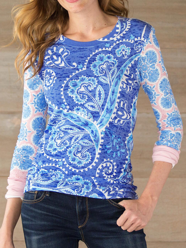 Printed Casual Crew Neck Shirts & Tops
