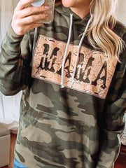 Camouflage Floral-Print Long Sleeve Cotton-Blend Hoodie Sweatshirt