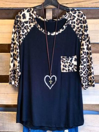 Black Floral-Print 3/4 Sleeve Crew Neck Leopard Shirts & Tops