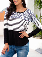 Crew Neck Long Sleeve Leopard Casual Sweatshirt