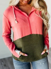 Army Green Casual Paneled Long Sleeve Solid Sweatshirt