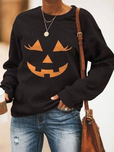 Plants Long Sleeve Casual Floral-Print Sweatshirt