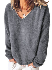 Long Sleeve Casual V Neck Sweatshirt