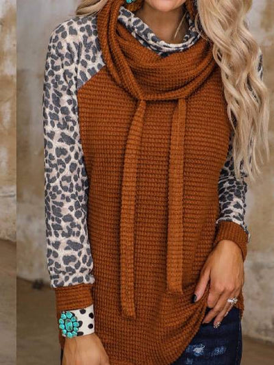 Orange Red Casual Leopard Cotton Sweater