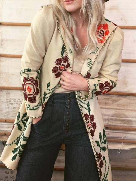 Cotton Long Sleeve Floral Outerwear
