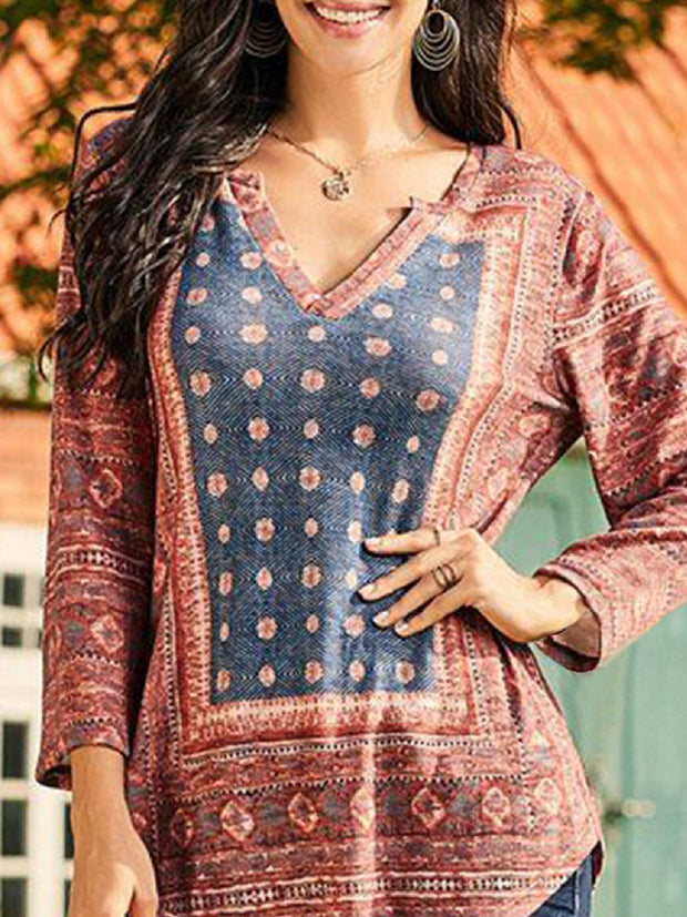 Tribal Floral-Print Long Sleeve Boho Shirts & Tops