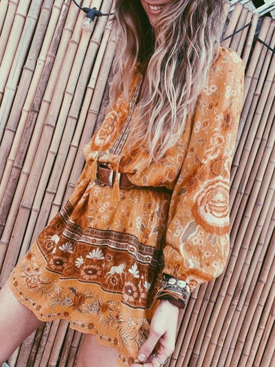 Floral Casual Floral-Print Long Sleeve Dresses