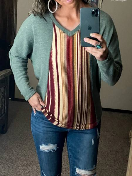 Striped Long Sleeve Casual Crew Neck Shirts & Tops
