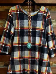 Crew Neck Checkered/plaid Casual Shirts & Tops