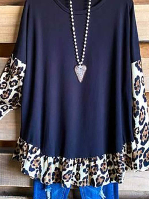 Long Sleeve Leopard Crew Neck Casual Shirts & Tops