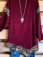 Floral-Print Crew Neck Long Sleeve Shirts & Tops
