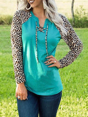 Leopard Crew Neck Casual Shirts & Tops