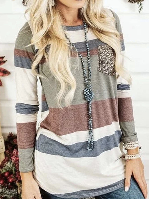 Multicolor Casual Patchwork Long Sleeve Shirts & Tops