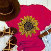 Short Sleeve Cotton-Blend Holiday Round Neck Shirts & Tops