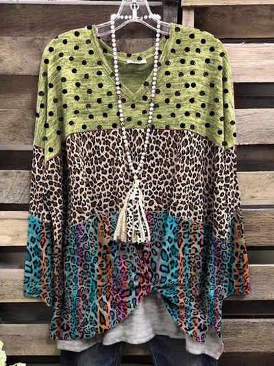 Color Casual Cotton-Blend V Neck Leopard print Shirt & Top