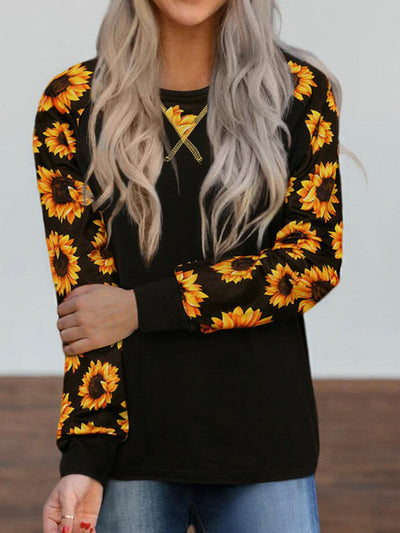 Black Casual Round Neck Floral Shirts & Tops