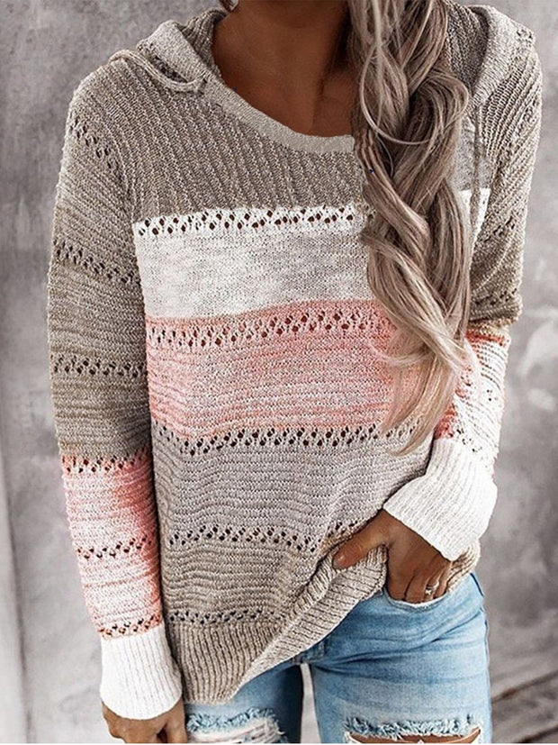 Color-Block Long Sleeve Casual Sweater