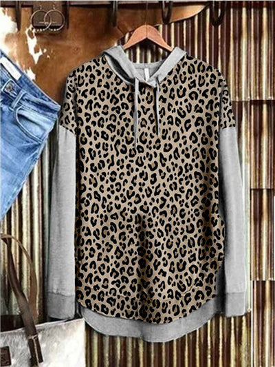 Gray Long Sleeve Cotton-Blend Printed Leopard Sweatshirt