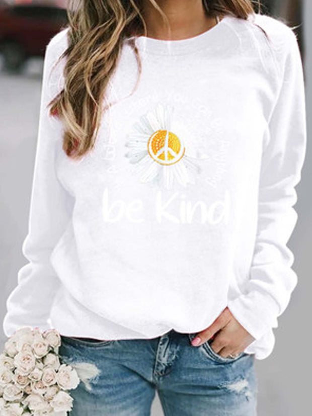 Floral  Long Sleeve  Printed  Polyester Crew Neck Top