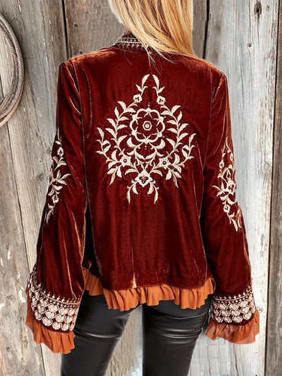 Red Long Sleeve Velvet Shirts & Tops