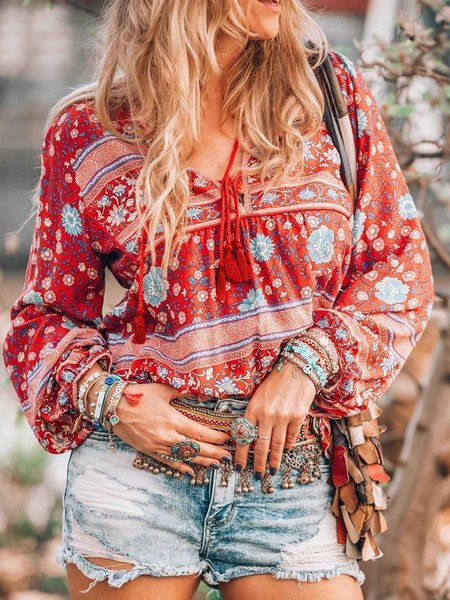 Vintage Long Sleeve Boho Floral Printed V Neck Plus Size Casual Tops