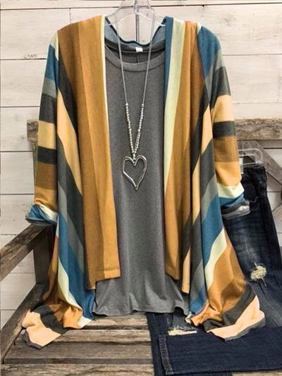 Color Casual Cotton-Blend Cardigan