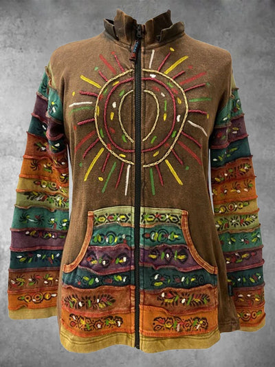 Multicolor Printed Vintage Stand Collar Outerwear