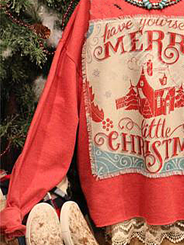 Christmas loose long sleeve printed sweatshirt