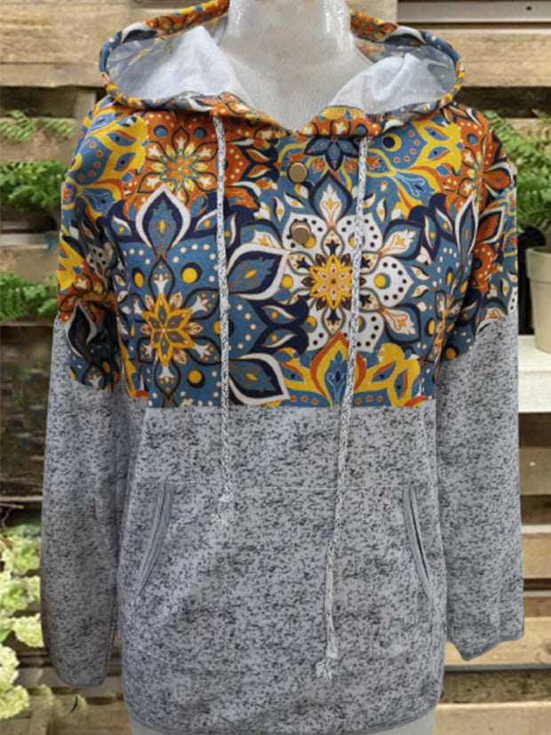 Vintage Hoodie Long Sleeve Statement Geometric Printed Plus Size Casual Sweatshirt