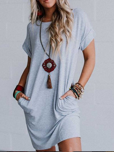 Light Gray Solid Short Sleeve Cotton Round Neck Dresses