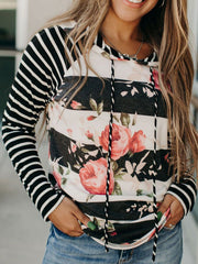 Black Floral Casual Sweatshirt