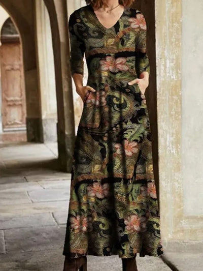 Casual Floral Cotton-Blend Long Sleeve Dresses