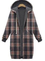Gray Hoodie Checkered/plaid Long Sleeve Outerwear