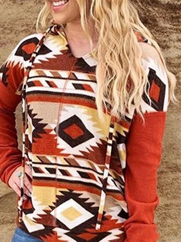 Red Casual Cotton-Blend Printed Sweatshirt