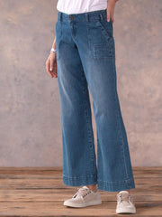 Blue Pockets Casual Solid Pants