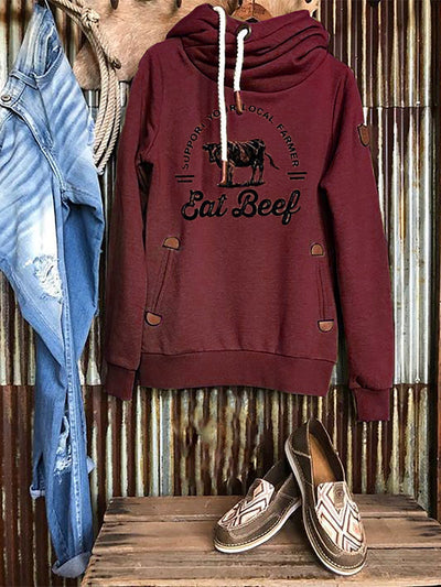 Wine Red Turtleneck Shift Long Sleeve Sweatshirt