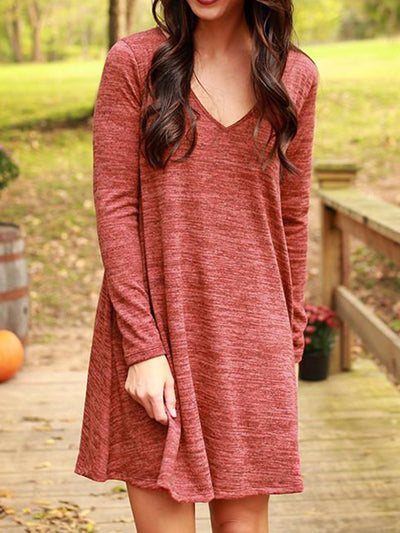 Red Long Sleeve V Neck Solid Cotton-Blend Dresses