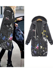 Gray Floral Long Sleeve Adjustable Strap Cotton-Blend Outerwear