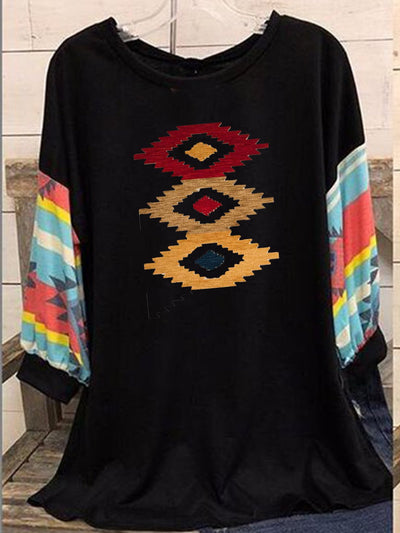 Black Long Sleeve Cotton-Blend Printed Round Neck Shirts & Tops