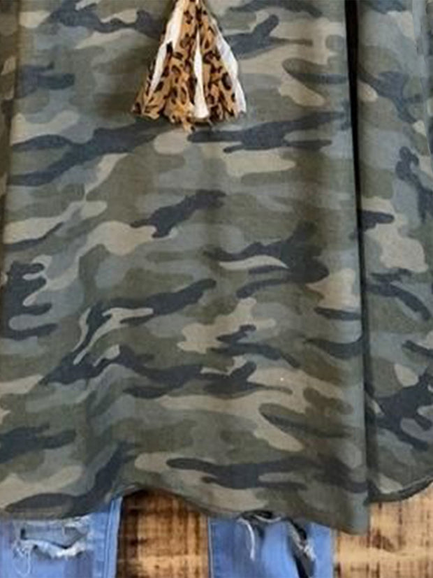 Green Casual Crew Neck Cotton-Blend Camo Shirts & Tops