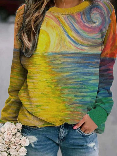 Large size Multicolor Long Sleeve Abstract Tops